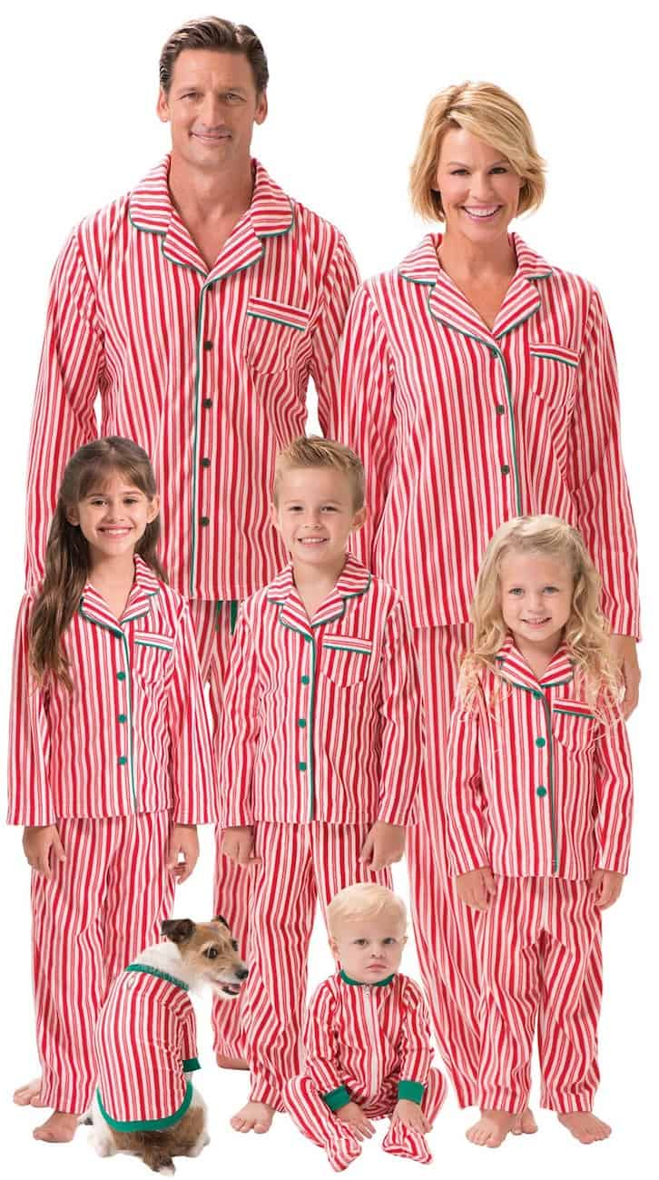 family matching pjs candy cane