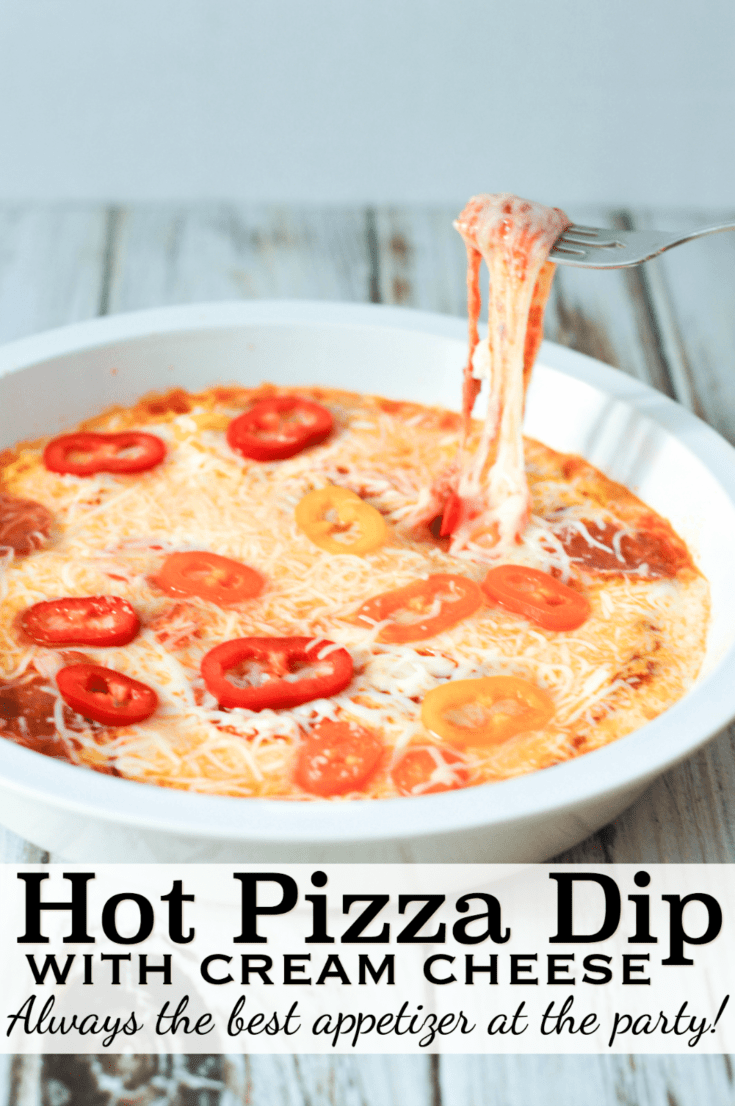Easy pizza dip appetizer with mozzarella cheese! The best hot party appetizer recipe! #appetizerrecipes #pizzadip