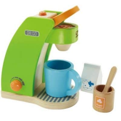 Save 36% on the Hape Kid's Coffee Maker Wooden Play Kitchen Set with Accessories, Free Shipping Eligible!