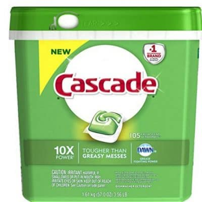 Save on 105-count Cascade ActionPacs Dishwasher Detergents (Only $13.90), Free Shipping Eligible!