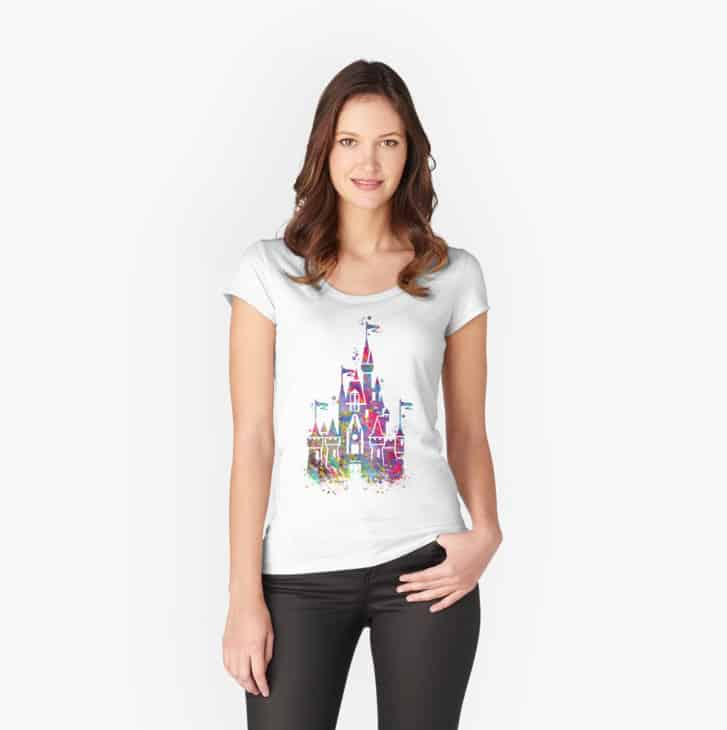 Unique Disney shirt cinderella's castle watercolor