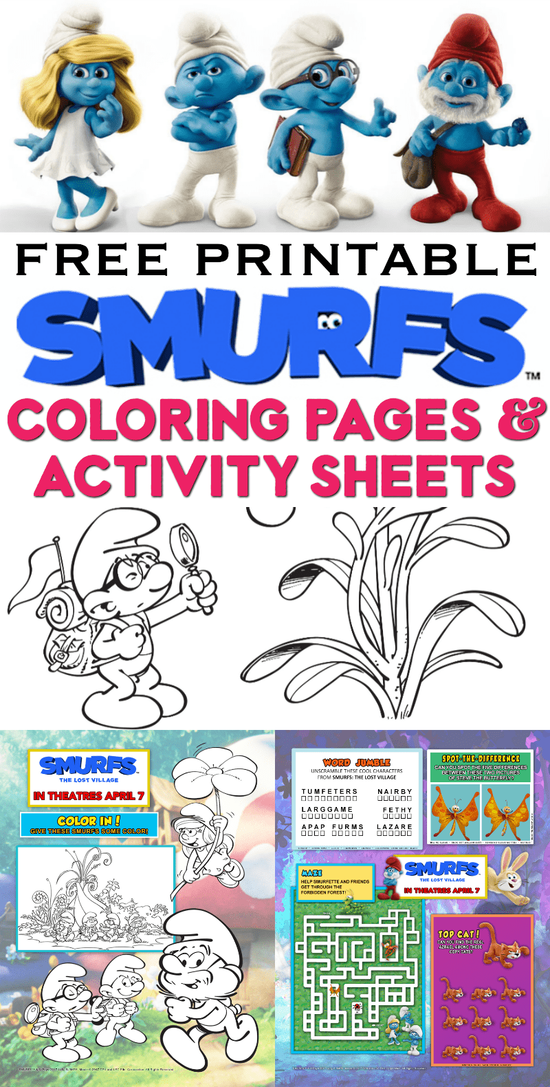 smurfs coloring pages activity sheets