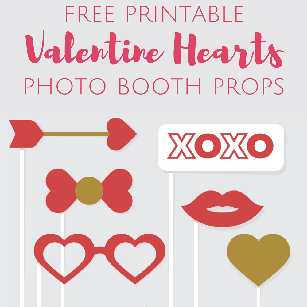 graphic relating to Valentines Printable Free identified as Free of charge Printable Valentines Working day Image Booth Props