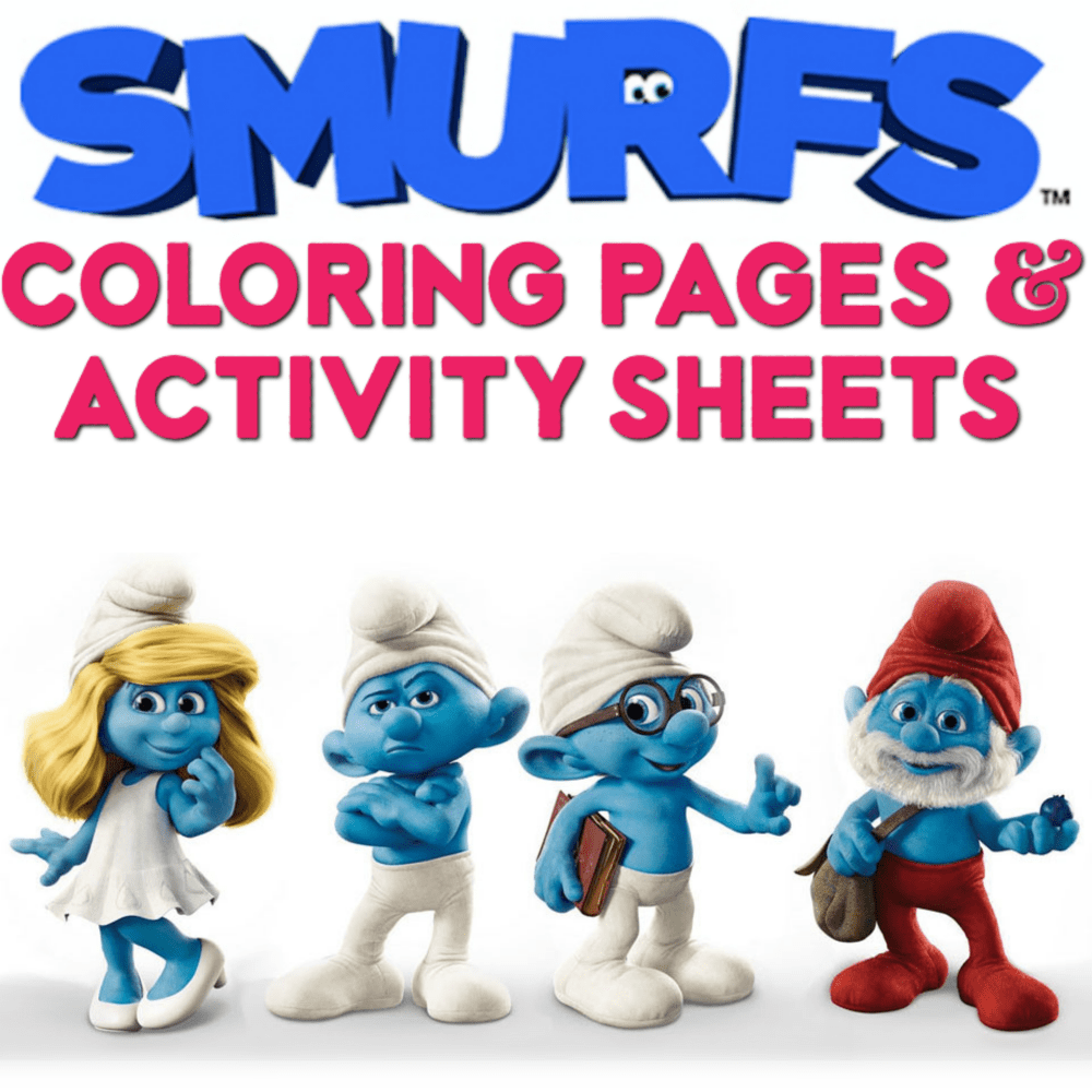 smurfs coloring pages and activity sheets