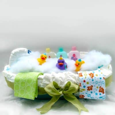 bathtub baby shower gift diaper cake