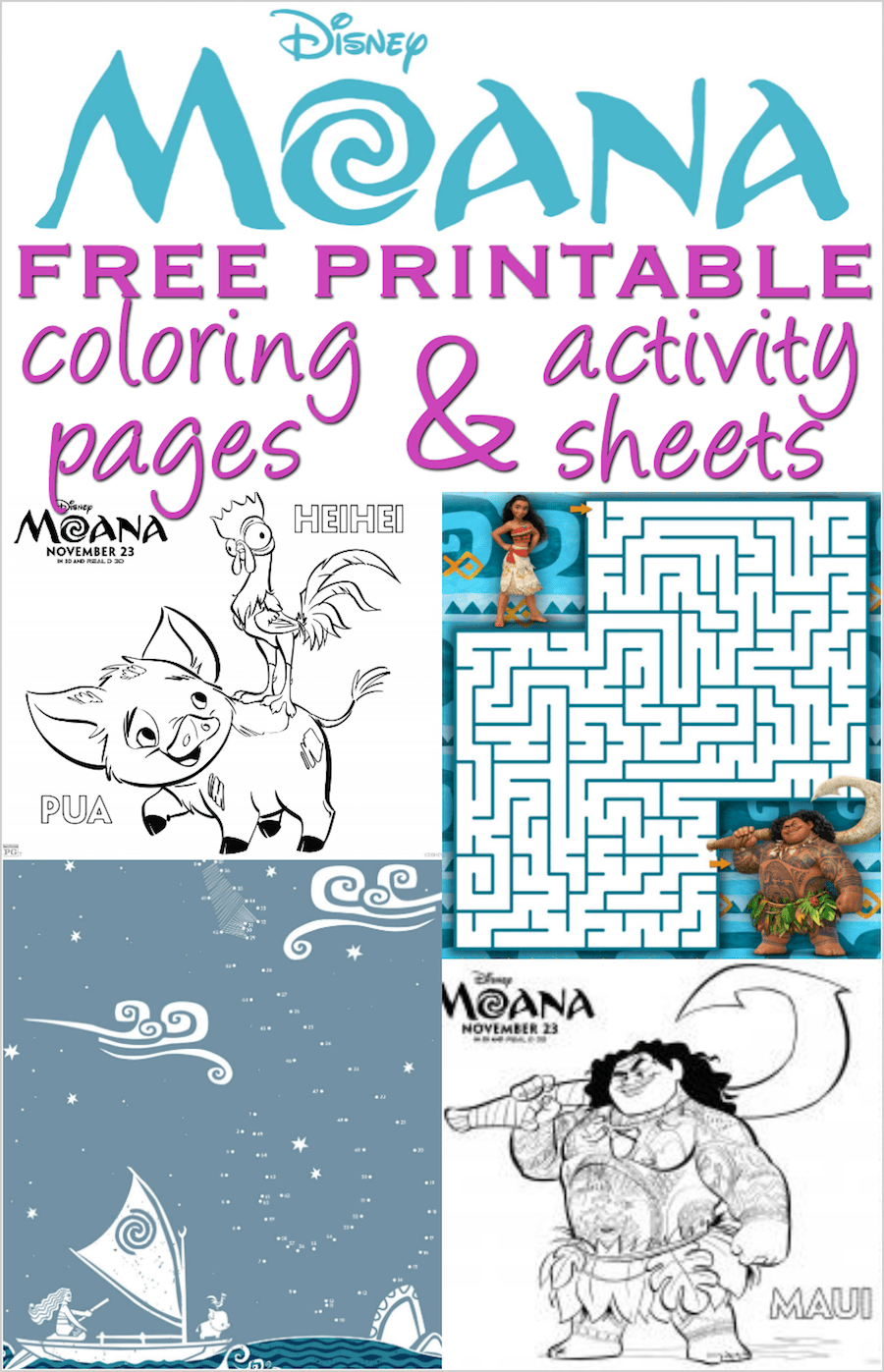Moana Coloring Pages And Activity Sheets Over 30 Free Disney