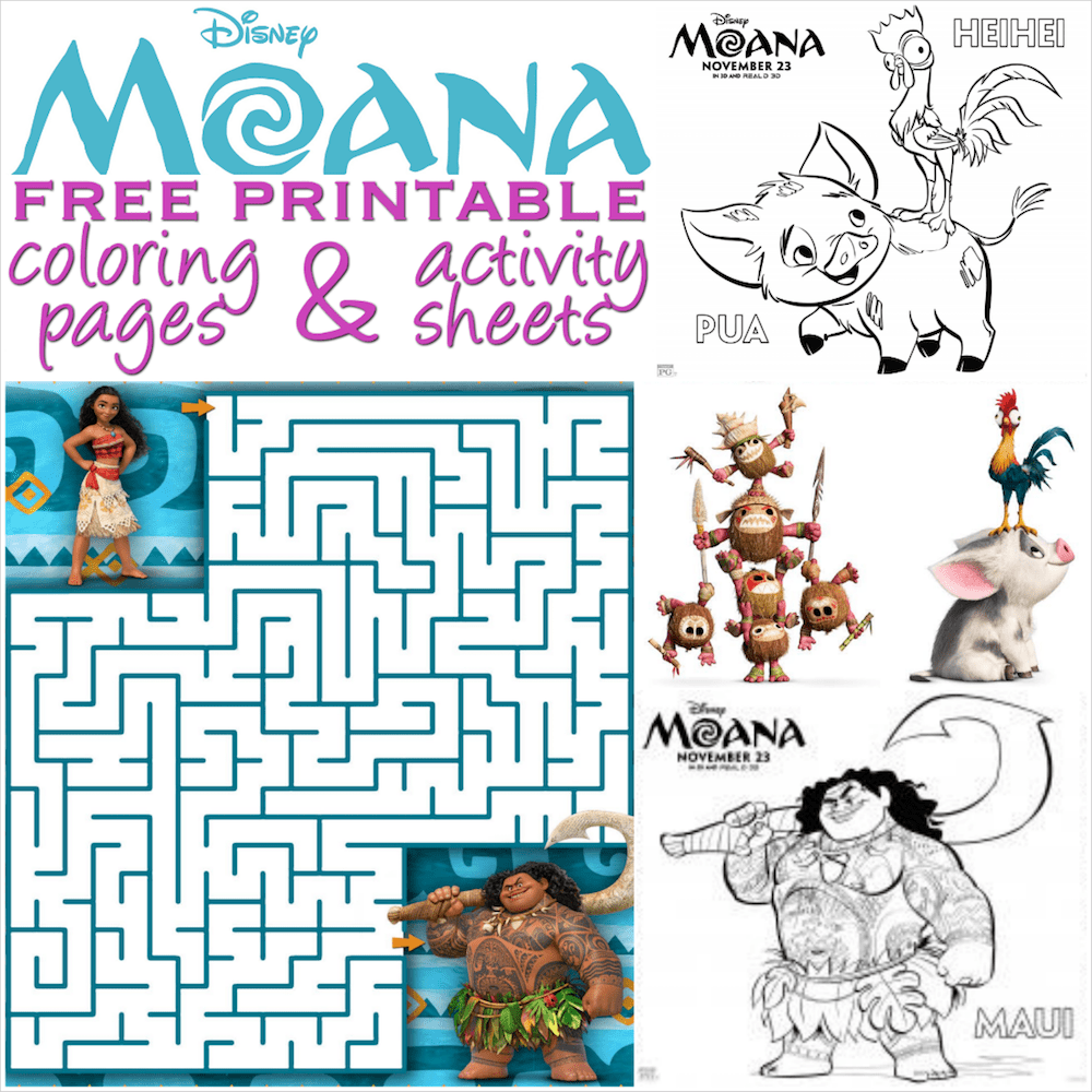 Moana coloring pages and activity sheets - Over 30 free Disney ...