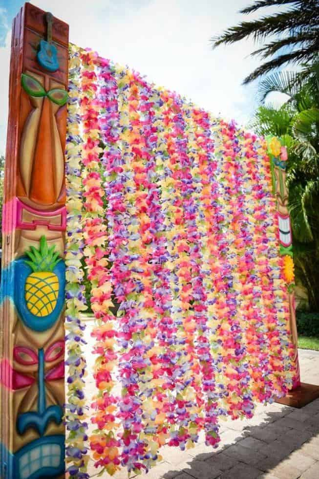 polynesian luau party ideas lei garland