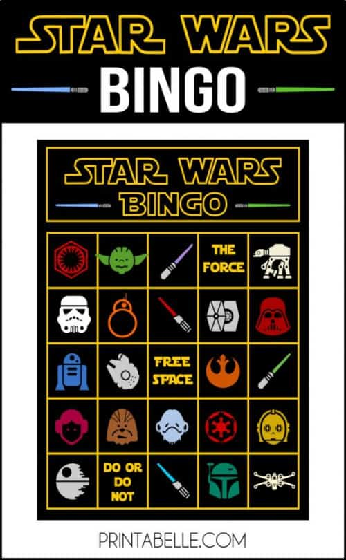 star wars party ideas bingo printables