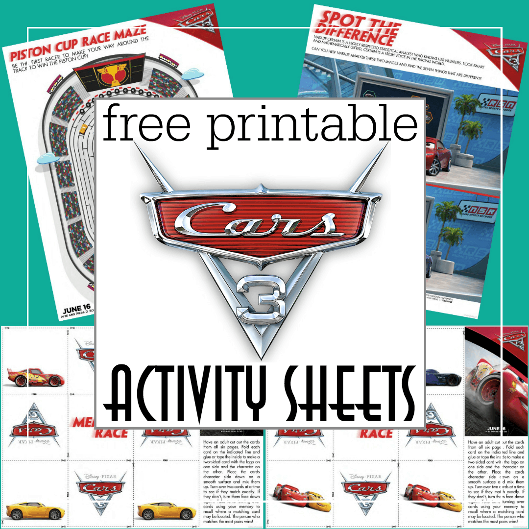 cars 3 activity sheets printable