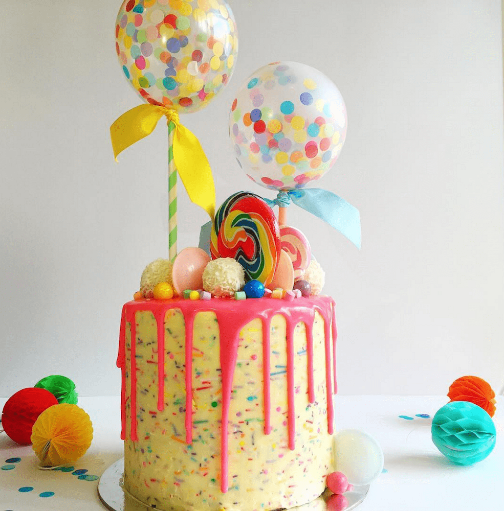 how to make a drip cake with balloons
