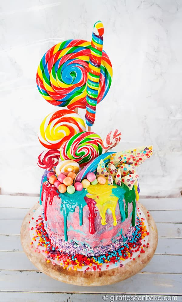 how to make a drip cake: lollipop birthday cake