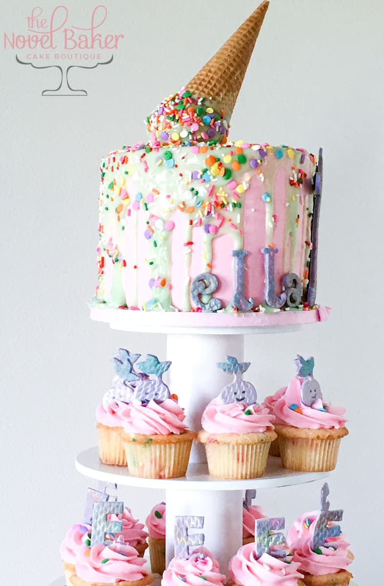 how to make a drip cake with matching cupcakes