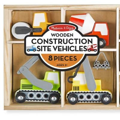 Save 32% on the Melissa & Doug Wooden Construction Site Vehicles With Wooden Storage Tray, Free Shipping Eligible!