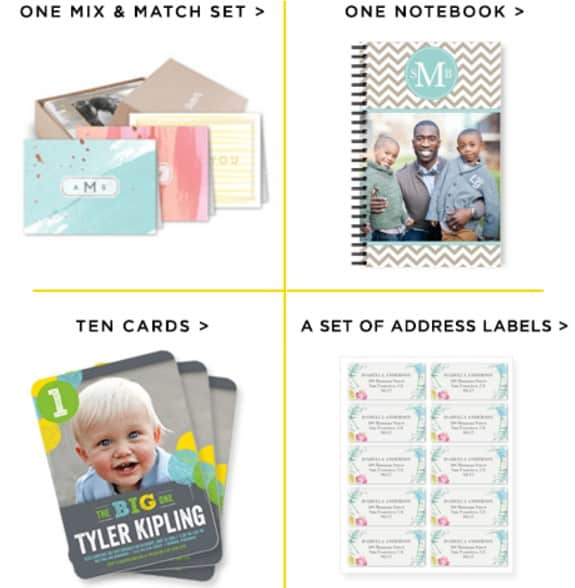 shutterfly choose up to two for free notecards notebook or address