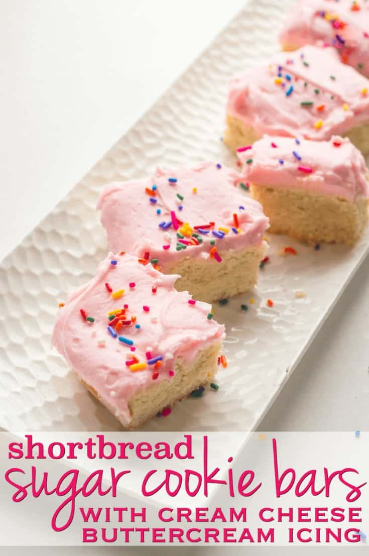 Shortbread Sugar Cookie Bars Recipe: the most delicious, buttery shortbread bars with an amazing cream cheese buttercream frosting!