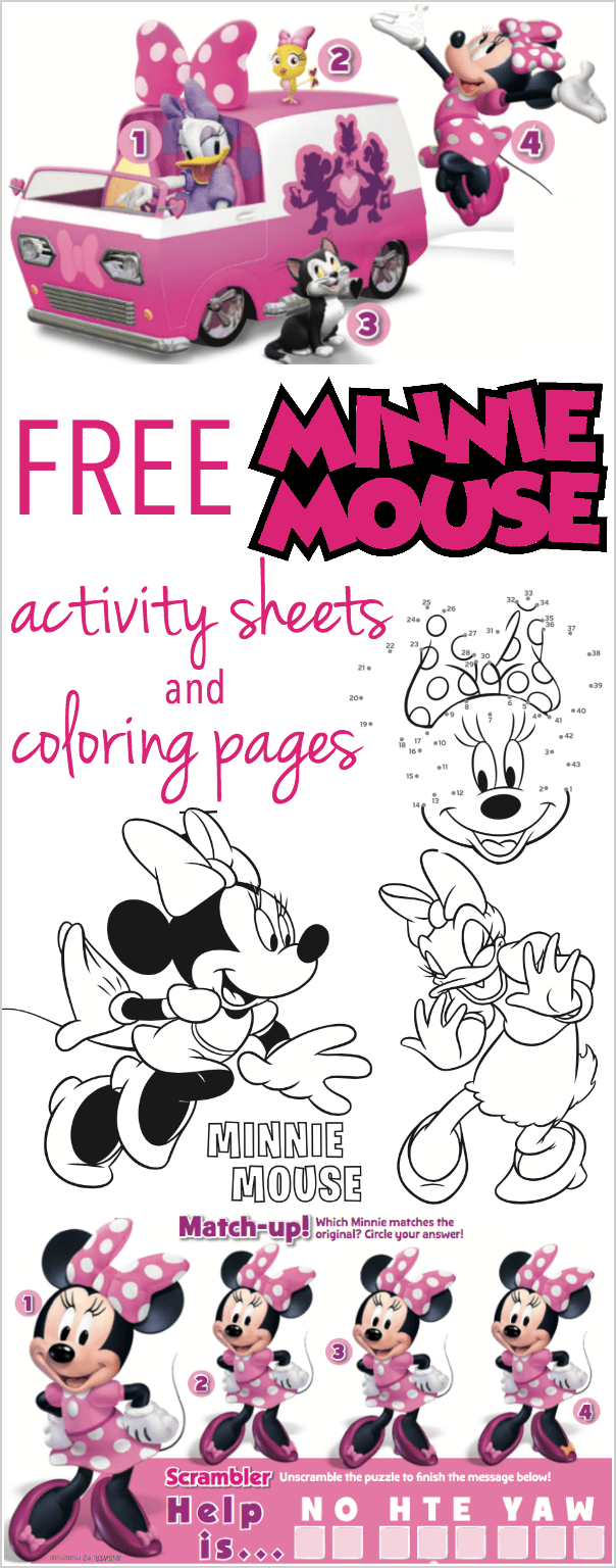 minnie mouse coloring pages activity sheets - Free Minnie Mouse Coloring Pages