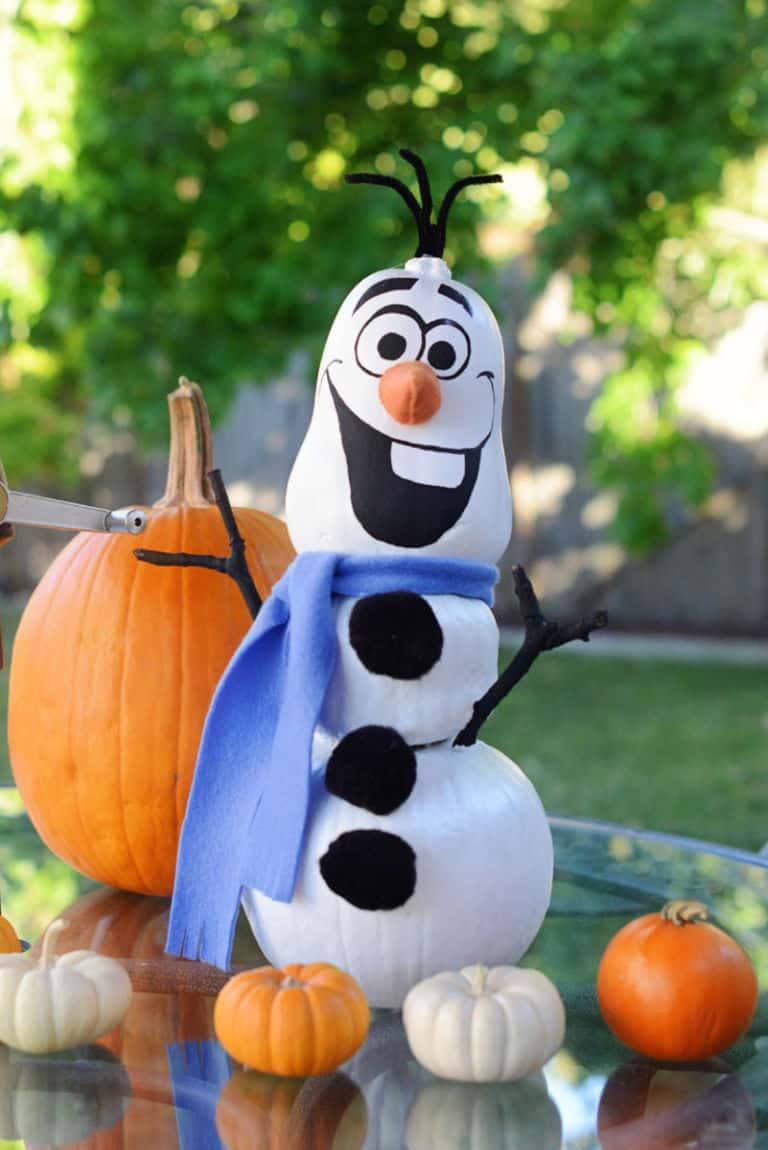 Disney painted pumpkins frozen olaf snowman