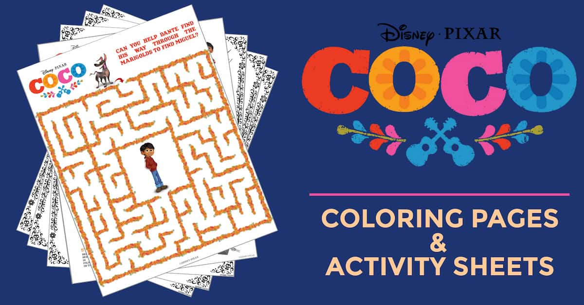 coco coloring pages activity sheets