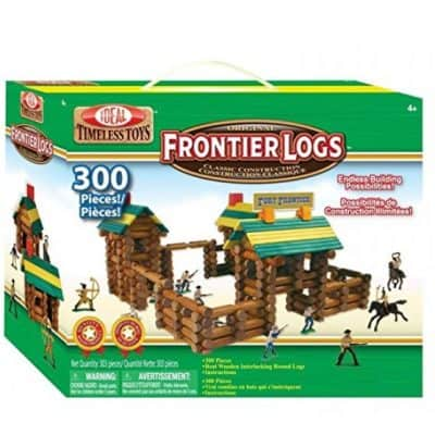 Save 49% on the Ideal Frontier Logs 300 Piece Classic Wood Construction Set with Action Figures, Free Shipping Eligible!