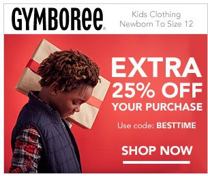 Extra 25% Off Entire Purchase at Gymboree!