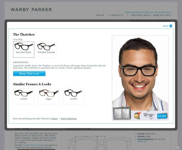 Warby Parker virtual try on
