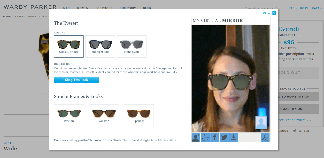 Warby Parker virtual try on sunglasses