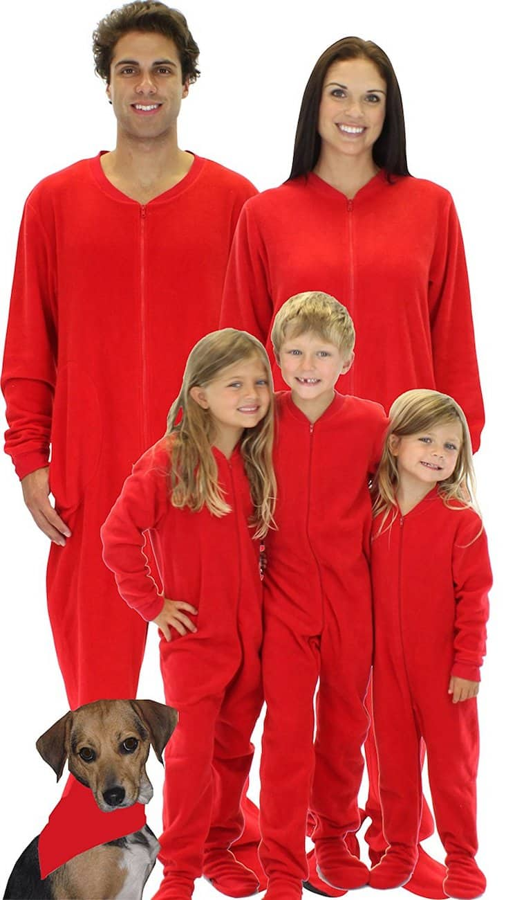 Red Christmas footie pajamas for the family