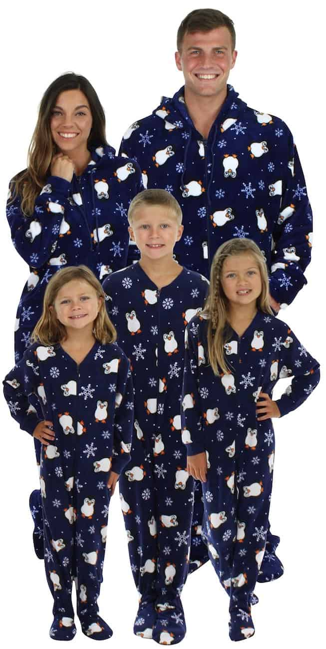 Matching Christmas footie pajamas for the family polar bear