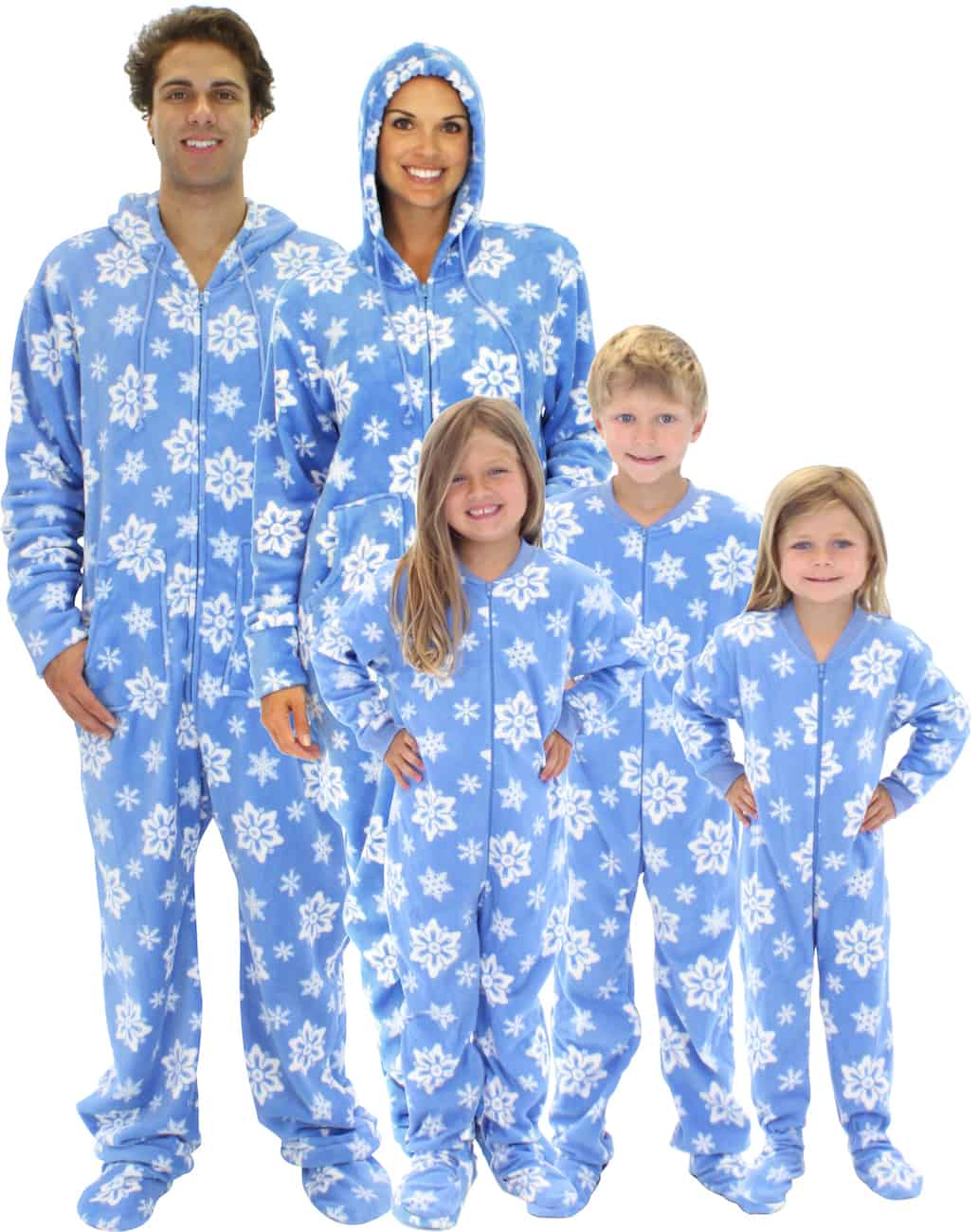 Christmas footie pajamas for the family blue snowflake