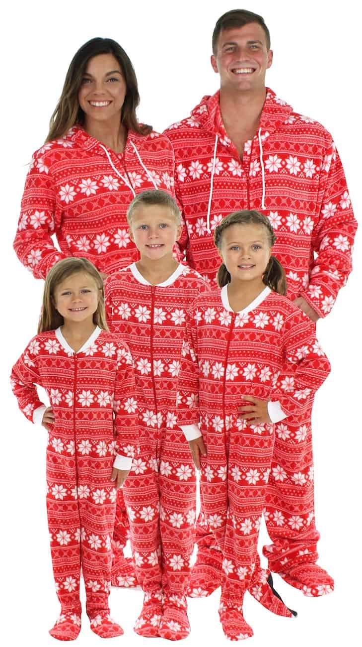 Christmas footie pajamas for the family red snowflake