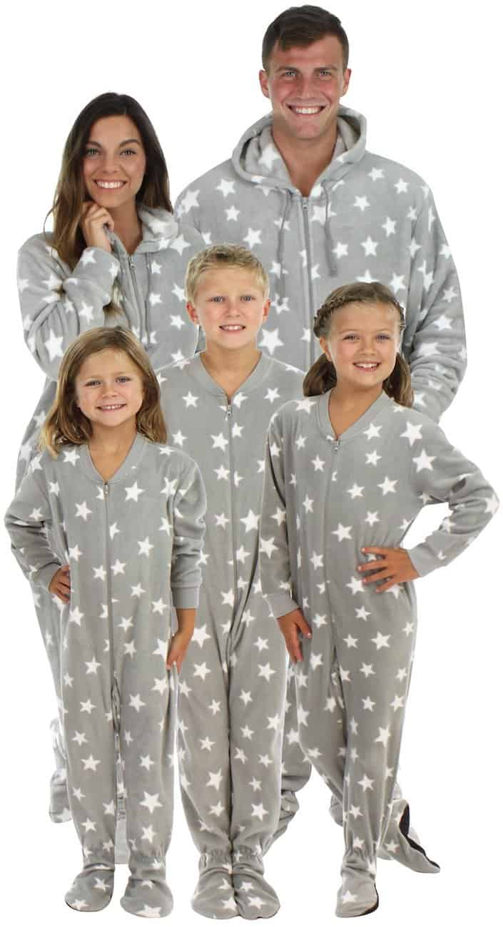 Matching Christmas footie pajamas for the family