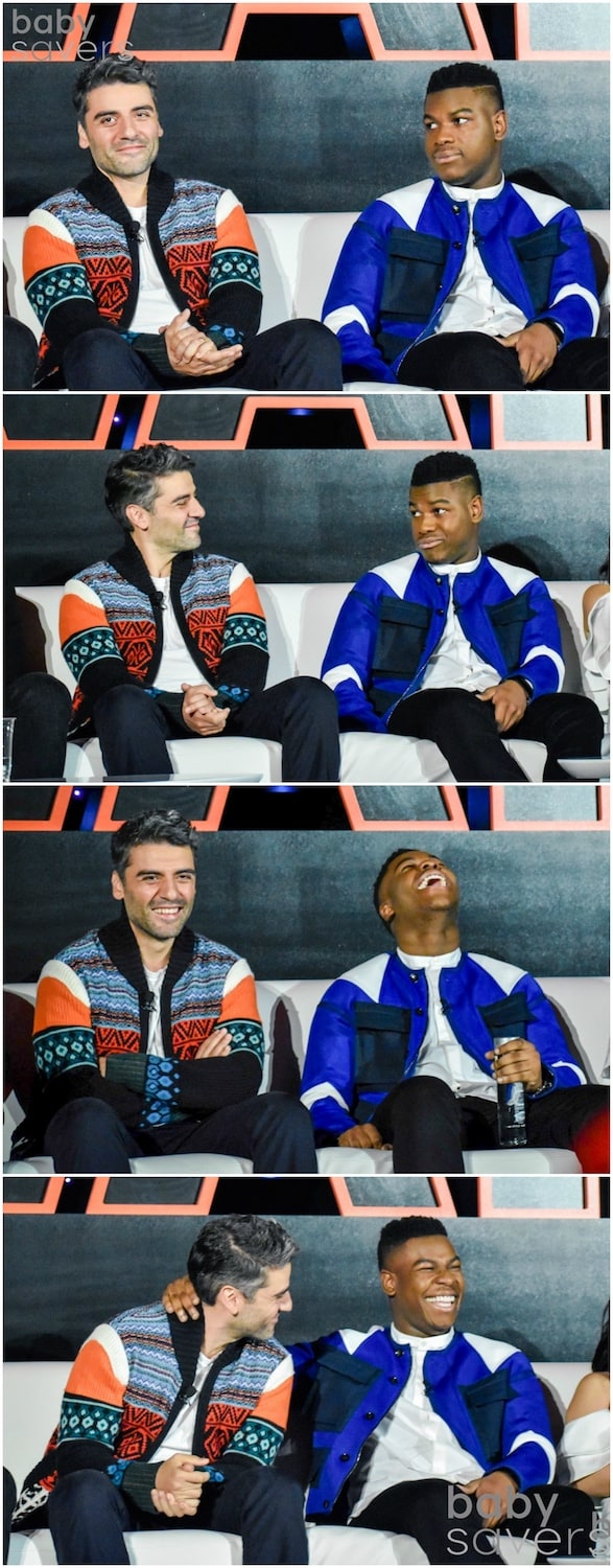 The Last Jedi press junket Oscar Issac and John Boyega