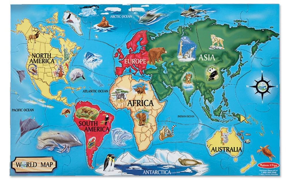 Save 33% on the Melissa & Doug World Map Jumbo Jigsaw Floor Puzzle