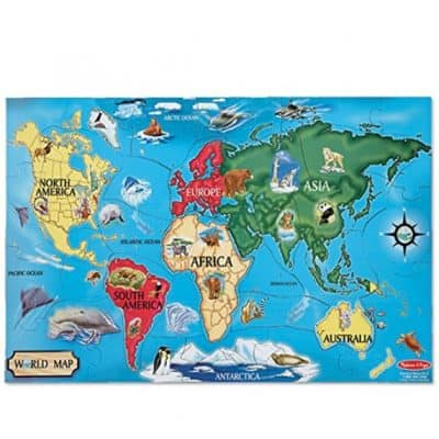 Save 33% on the Melissa & Doug World Map Jumbo Jigsaw Floor Puzzle, Free Shipping Eligible!