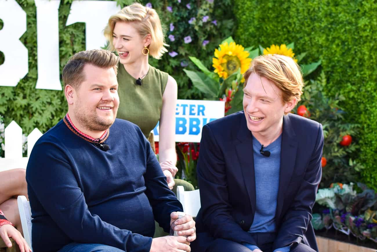 James Corden Elizabeth Debicki and Domhnall Gleeson peter rabbit press conference