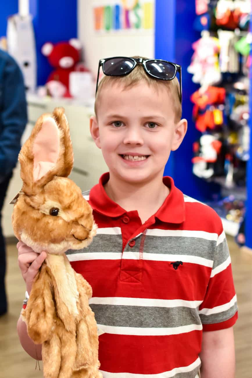 plain Peter Rabbit at Build-a-Bear workshop before stuffing