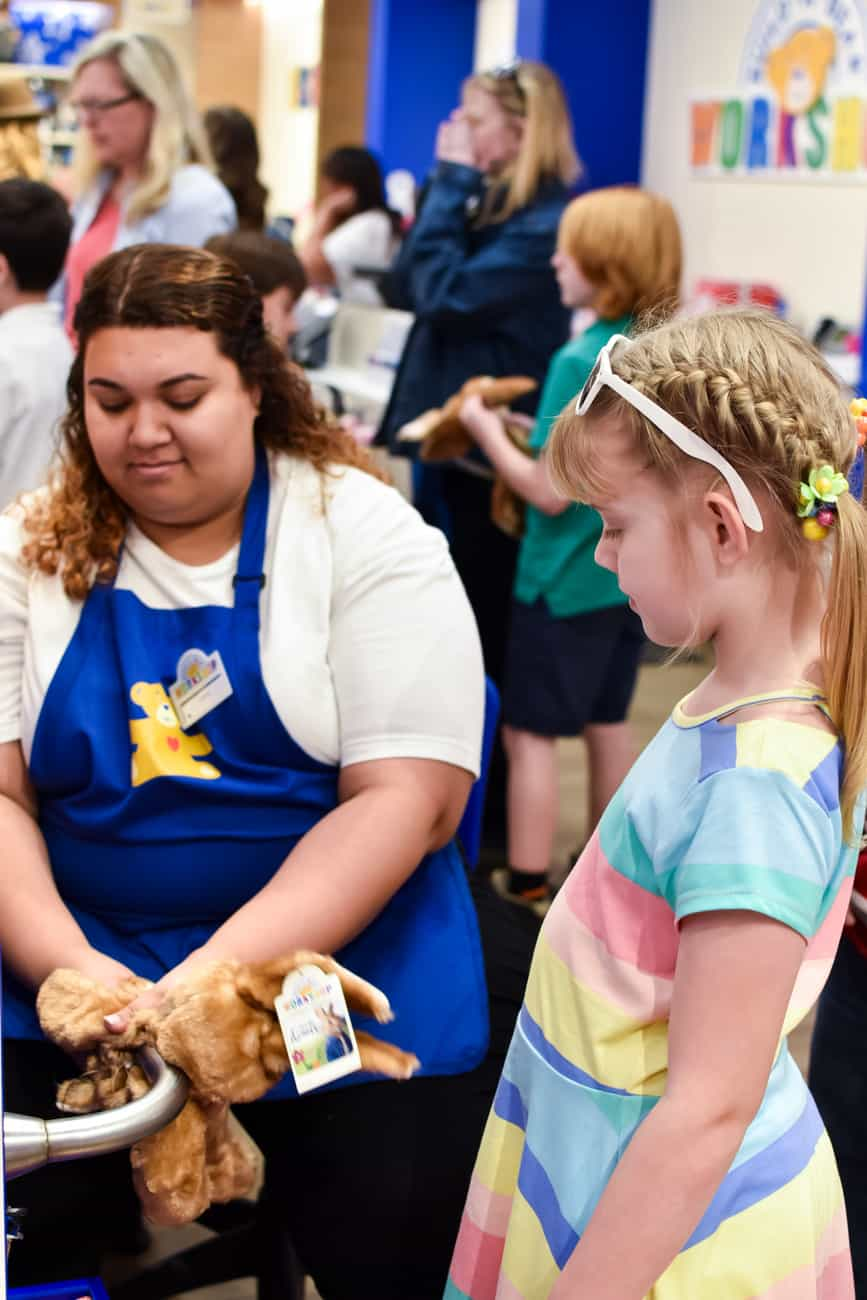 Peter Rabbit getting stuffed at Build-a-Bear workshop