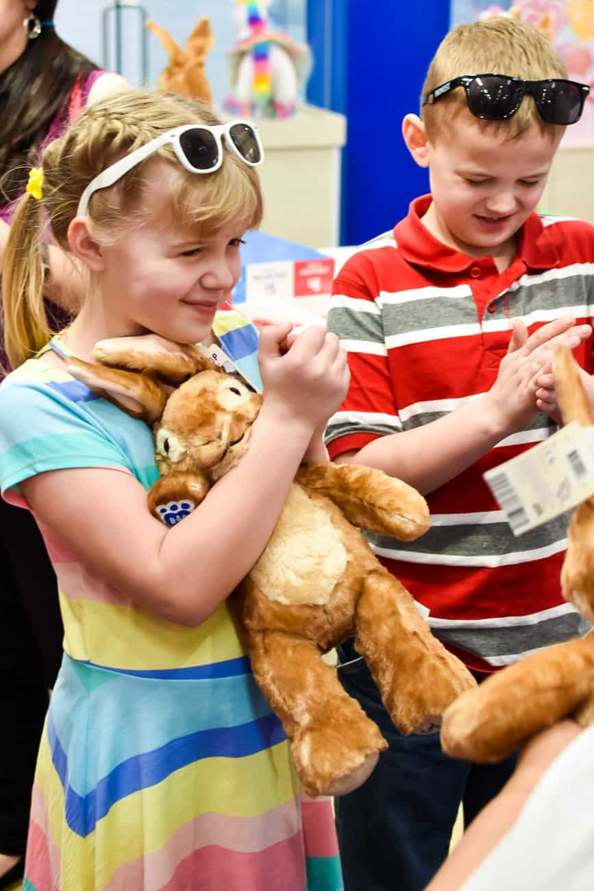 Peter Rabbit getting a heart at Build a Bear Workshop