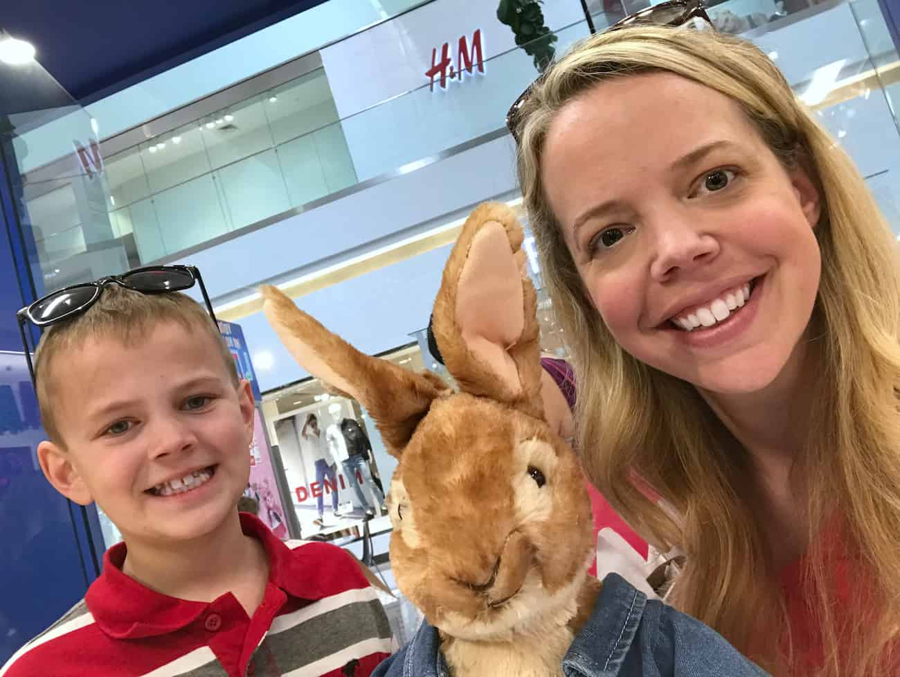 Peter Rabbit at build a bear workshop with Marybeth Hamilton