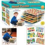 Save 42% on the Set of 6 Educational Wood Puzzles with Wire Storage Rack, Free Shipping Eligible!