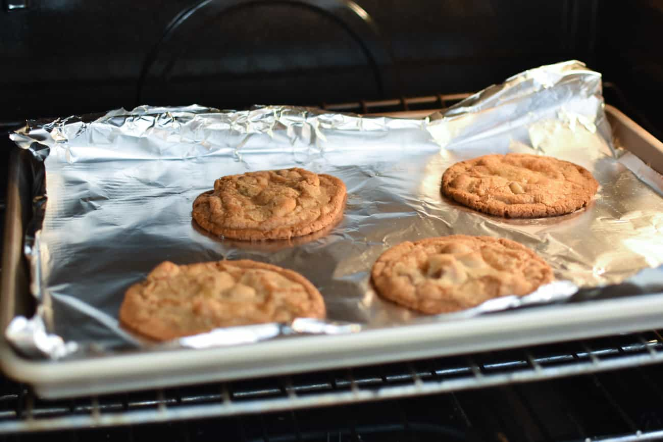 panbanging cookies in the oven