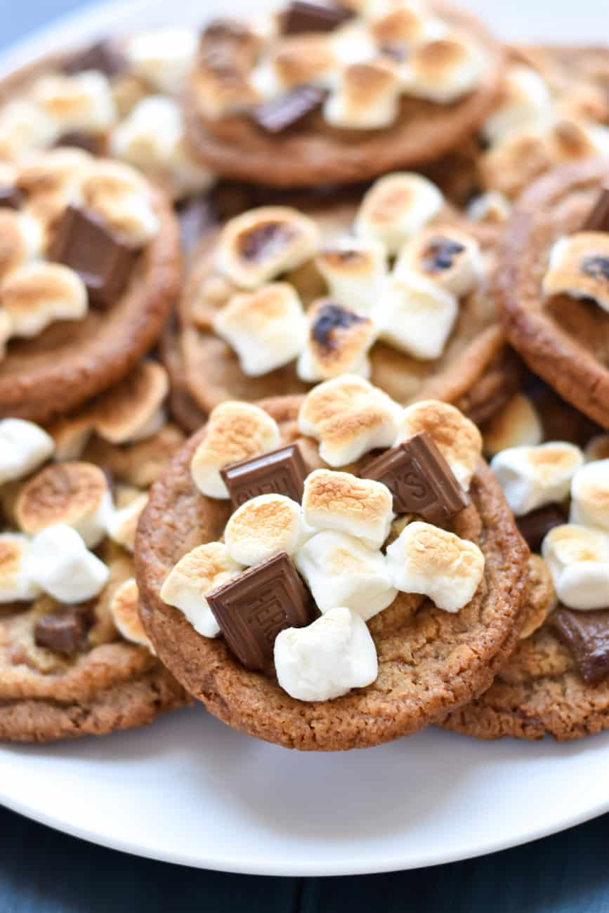 brown butter panbanging cookies with chocolate and marshmallows