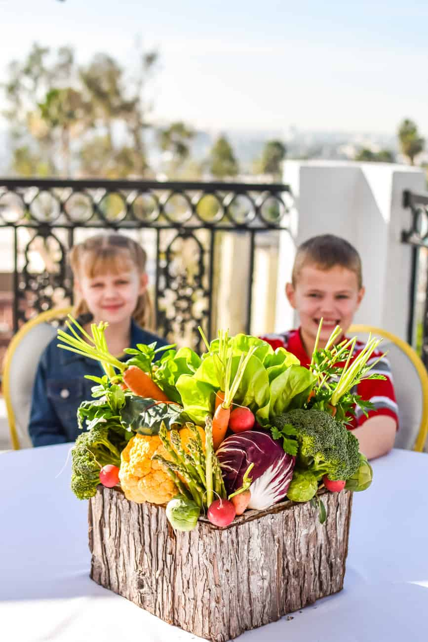 garden vegetable centerpiece with carrots