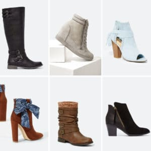 selection of just fab boots on sale for $10