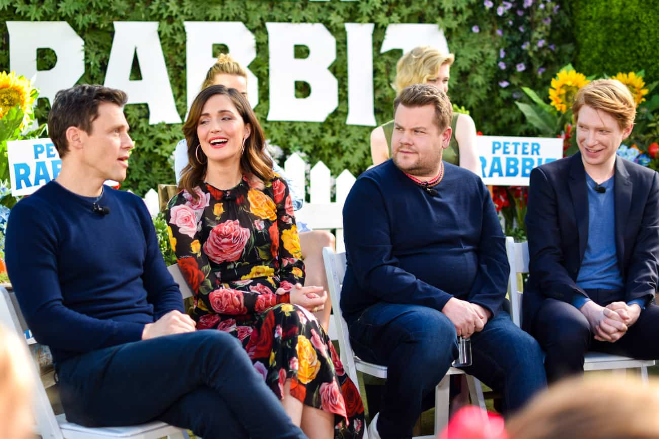 peter rabbit press conference will gluck rose byrne james corden domhnall gleeson