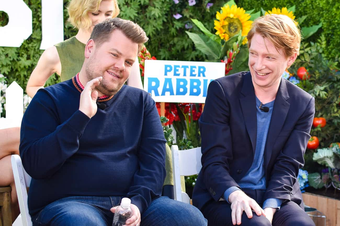 quotes peter rabbit press conference james corden domhnall gleeson