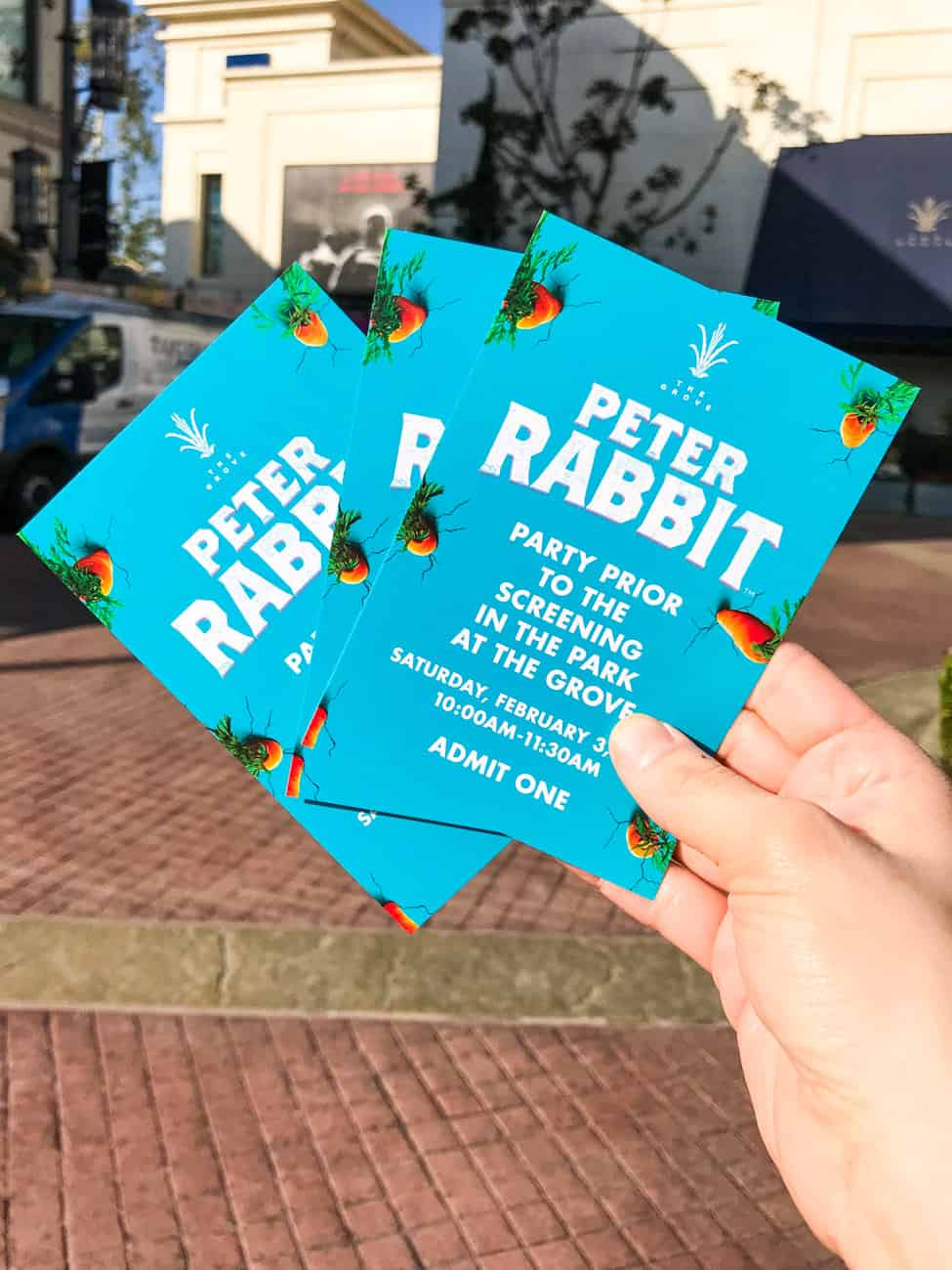tickets for Peter Rabbit movie premiere