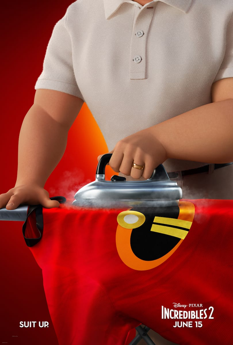Incredibles 2 movie poster Mr Incredible ironing uniform