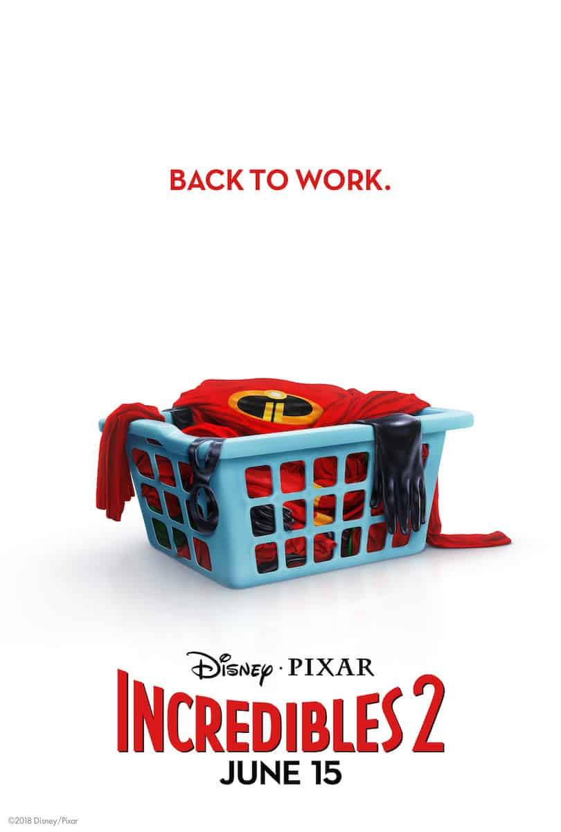 Incredibles 2 movie poster costume in basket